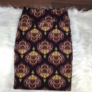 Lularoe brightly colored geometric Cassie skirt